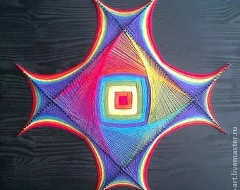 Amazing painting in the style of stringart! Rainbow