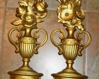 """vntg Syroco gilt floral wall plaques looks like flowers in a vase on a shelf, just lovely 23""""tall"""