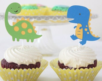 12 x Dinosaur Cupcake Toppers - Birthday Party