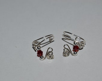 Argentium Sterling Silver with Red Crystal