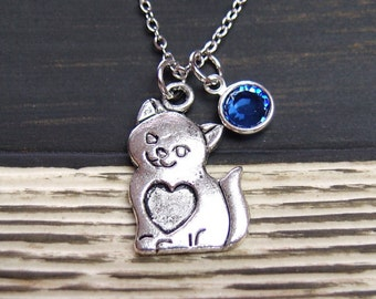 birthstone necklace, cat necklace, long necklace option, silver cat and heart charm , kitty, girls jewelry, little girl gift
