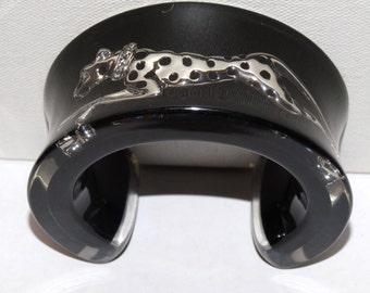 "Vintage Lucite/Resin Cuff  Leopard Bracelet 8"" x 1.50 wide 124 g."