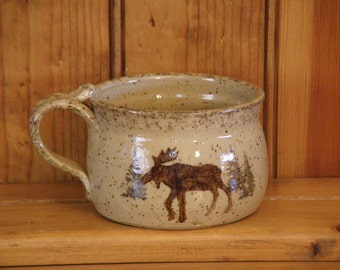 Woodland Soup Mug (Features Bear and Moose)