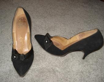 Black Suede Heels - size 6