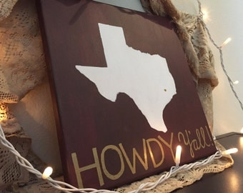 """Texas A&M Aggies Hand-Painted 12x12 Canvas - """"Howdy Y'all"""""""