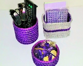 SEQUIN Decorated Re-cycled Household Cans Holds or Displays Anything Right Side Up or Upside Down!