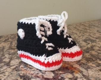 Black High Top Sneaker Style Baby Booties