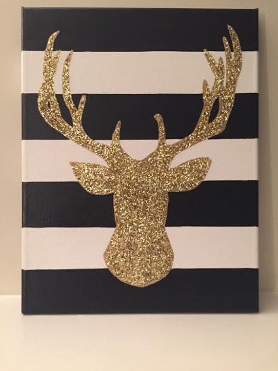 """Deer/Stag Head Canvas/Sign - Gold/Silver Glitter - Black and White Stripes Background - 11"""" x 14"""""""