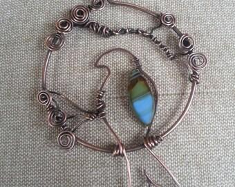 Copper wire wrapped bird pendant