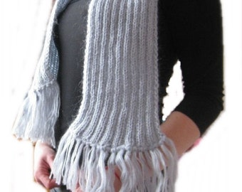 Grey hand knitted scarf