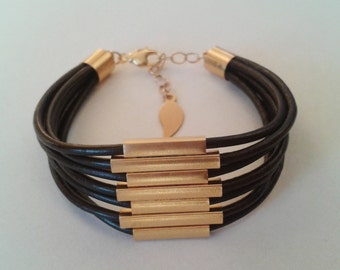 Gold tube leather bracelet, Brown leather bracelet, Wrap leather bracelet, Tube leather breclet, Gold tube bracelet, Cuff leather bracelet