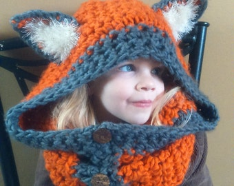 Handmade Fox Scoodie. Fits ages 4 to adult.