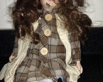 Tartan Dressed Porcelain Doll