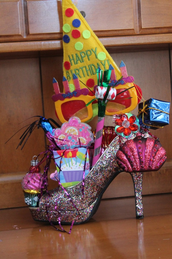 Colorful happy birthday high heel shoe centerpiece