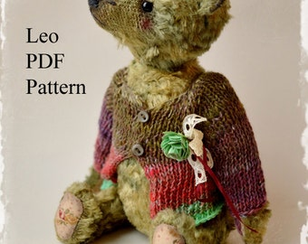 PDF Teddy bear pattern,  8.6 inches (22 cm) - Leo
