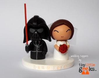 Wedding Cake Topper - Star Wars Cake Topper - Darth Vader inspired Wedding Cake Topper