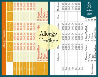 Allergy Tracker Filofax Inserts - Printable for Organizer, Binder or Planner
