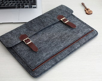 "Dark Grey Felt 13 Macbook Case , 13 Macbook Air Sleeve , 13 Macbook Sleeve , 13 Macbook Air Case , 13 Macbook , 2016 13"" Macbook Pro #201"