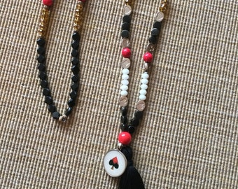 Red Queen Alice in Wonderland Beaded Long Tassel Necklace