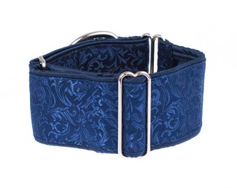 1.5 inch martingale collar, martingale dog collar, greyhound collar,whippet, galgo, blue, blue collar, martingale,1.5