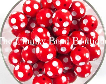 20mm red acrylic polka dot, 10 pieces