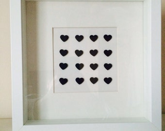 Handcrafted 3d 16 heart image in mount and frame