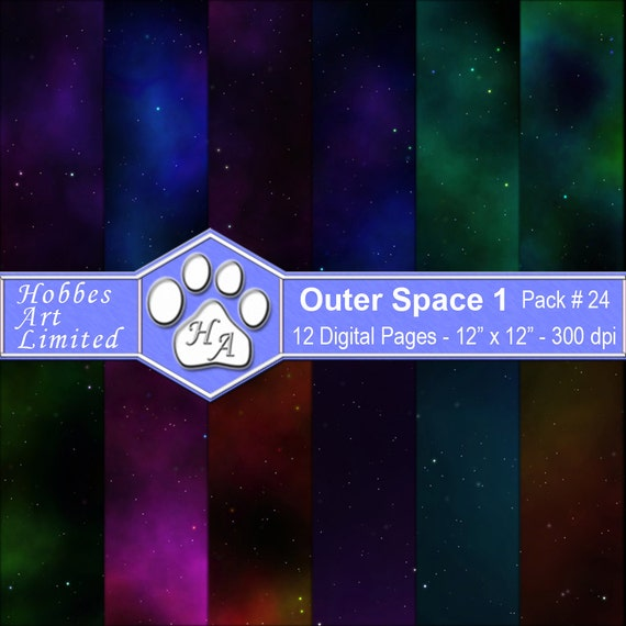 Outer space 1 digital scrapbook paper pack with instant for Outer space paper
