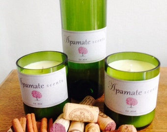 Recycled wine bottle with pure soy wax and aromatherapy graded essential oils
