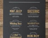 Classic Whiskey Cocktails Metallic 18x24 Screenprint Poster