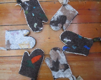 Felted wool oven mitts/wood stove gloves