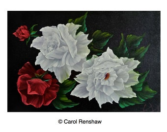 FLORAL OIL PAINTING Roses signed oil painting, 18 x24 canvas, flowers, vibrant oil painting, contemporary floral art by Carol Renshaw
