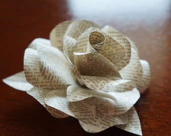 Gift Bow, Package Bow - Self Stick - Paper Rose made with Vintage Book Pages - Christmas, Wedding, Birthday