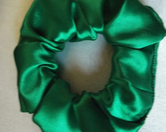 Emerald green satin hair scrunchie