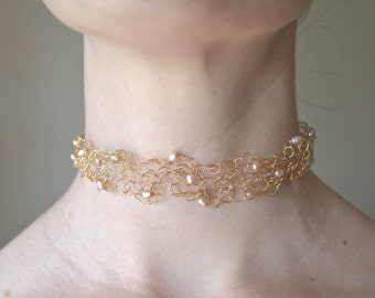 Elegant Lacy Choker with Baroque Pale Peach Pearls and 14 Karat Gold Filled Wire Crochet