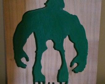 Retro Hulk, hand carved art work