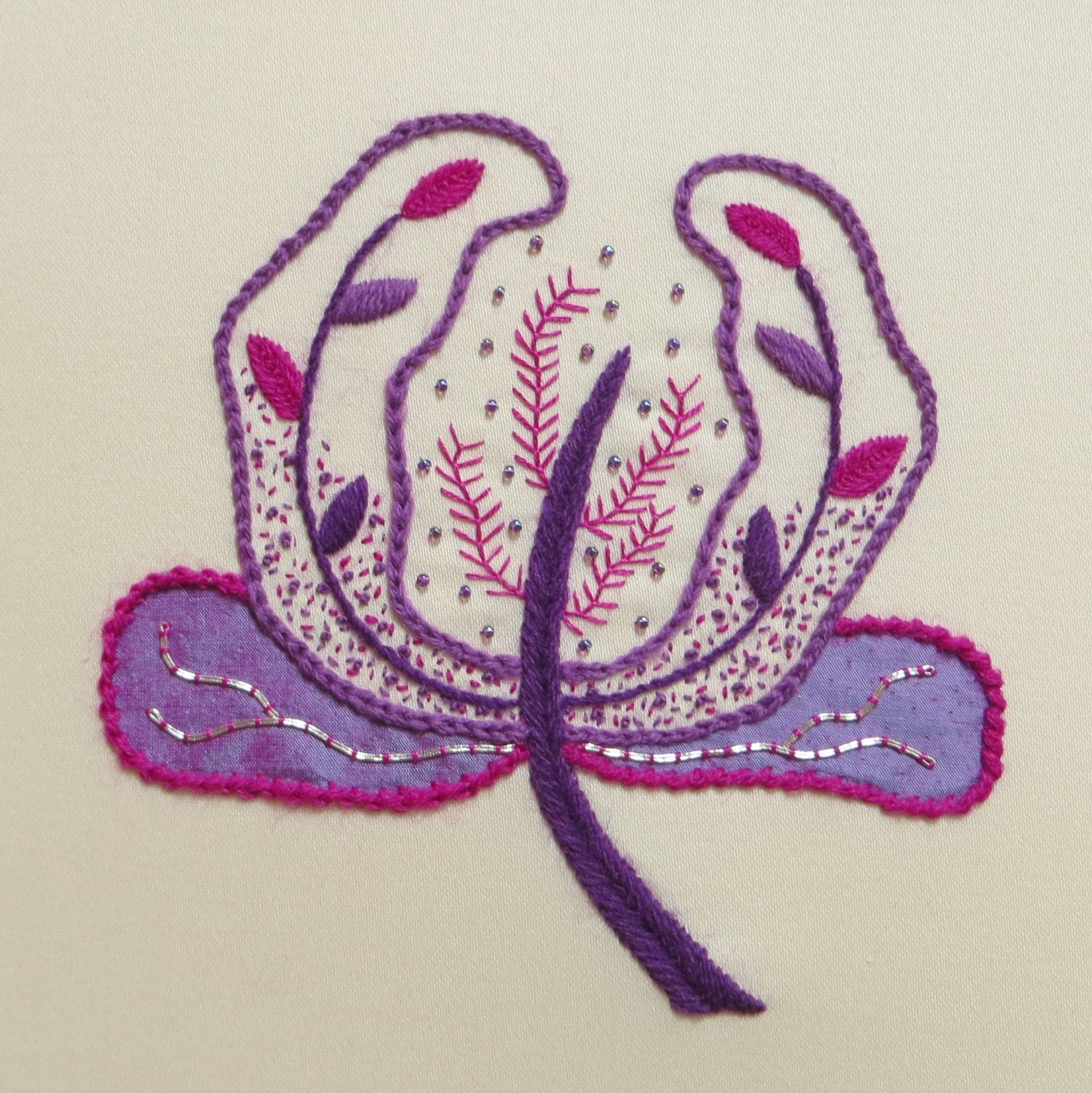 Hand embroidery kit flower head stitch sampler by
