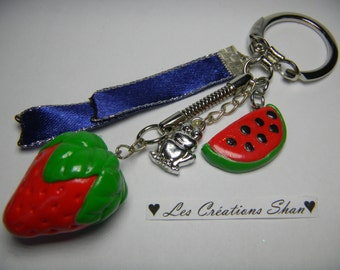 Strawberry and watermelon keychains