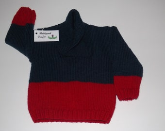 Hand knitted boys jumper, wrapped neck, navy blue and red