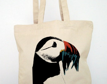 TOTE BAG Canvas shopping Bag  Cotton Organic thick and resistant printed PUFFIN