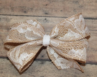 5-6inch Lace Burlap Hair Bow