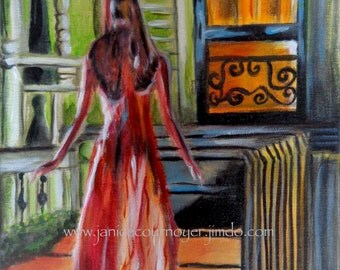 CARRIE (Scene from Brian de Palma's movie 1976) in acrylic painting by Janice Cournoyer