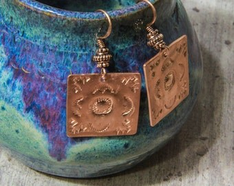 Original Southwest design hand-stamped copper earrings