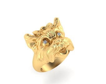 Yorkie ring 14k gold with diamond eyes