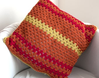Hand Crochet Multicoloured Cushion Cover