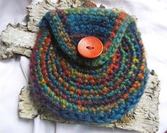 Purse, Maja Spirals from felted wool purse, wallet, Belt pouch Waldorf