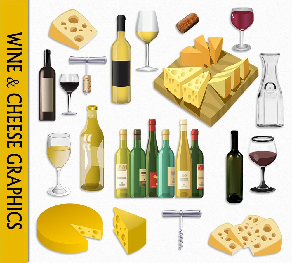 Wine & Cheese Clip Art Graphic Food White Red Clipart Wine And Cheese Art