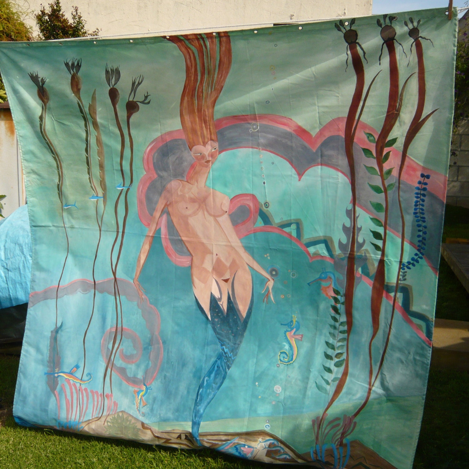 Octopus shower curtain cafe press - Now Trend Ing Is A Hand Painted Shower Curtain Recreation Of Catalina Island Casino Mermaid On A 70 X 72 Polyester Shower Curtain