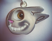 Adorb BUNNY One Eyed Happy Smiley Face Pendant Sterling Silver with Glass Eye and Teeth