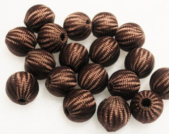 Large Brown Crochet Beads, Textile Beads, Big Bold Beads