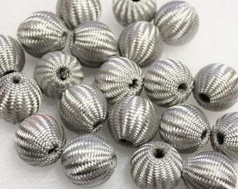 Large Gray Crochet Beads, Big Bold Beads, Large Beads, Textile Beads